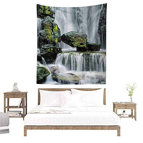 (alisoso Wall Tapestries Hippie,Waterfall Decor,Majestic Waterfall Blocked with Massive Rocks with Moss on Them,Green Black and White W32 x L32 inch Tapestry Wallpaper Home Decor )