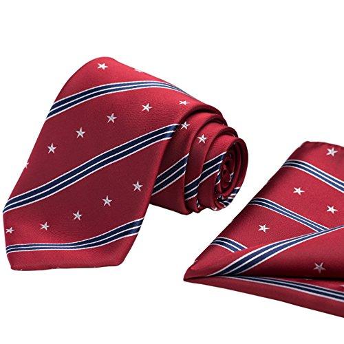 KissTies 100% Silk Stars and Stripes Tie US Ties + Pocket Square + Magnetic Box