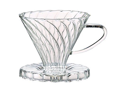 HIC Pour-Over Coffee Filter Cone, Borosilicate Glass, Number 2-Size Filter, Brews 2 to 6-Cups
