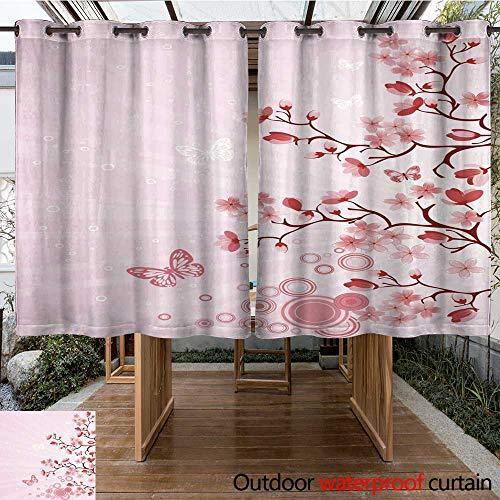 (RenteriaDecor 0utdoor Curtains for Patio Waterproof Japanese Cherry Blossom W55 x L72)
