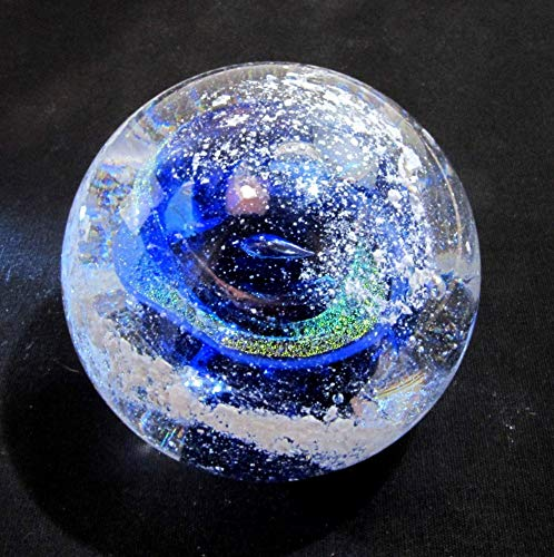 Cremation Ash Memorial Glass BLUE Nebula Swirl Orb - Art Glass Cremains Paperweight