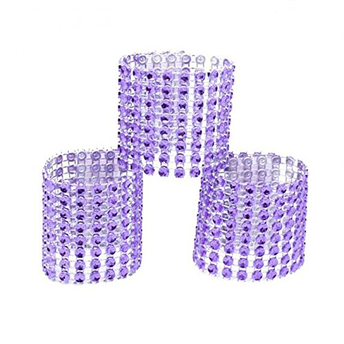 Yalulu 50Pcs Napkin Rings Rhinestone Napkin Rings Adornment For Wedding Party Banquet Dinner Decor Favor (Purple)