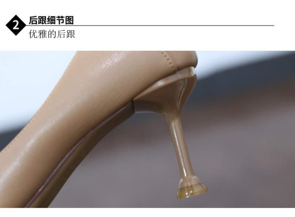 ZZDSH Hochhackige Schuhe Frauen Einfachen Frühling Flachen Mund Mund Mund Zeigte Professionelle Etikette Einzelschuhe Stilett, 39 ca1215