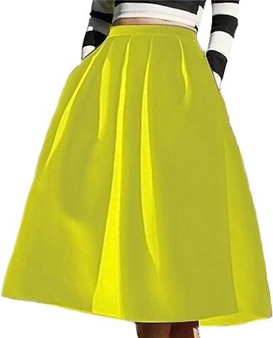 GUOCU Falda Largas Vintage Mujer Alta Cintura la Altura del ...