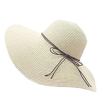 Floppy Straw Hat Large Brim Sun Hat Women Summer Beach Cap Big Foldable Fedora Hats for Women Girls