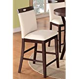 poundex modern counter height dining side chair cream faux leather set of 2