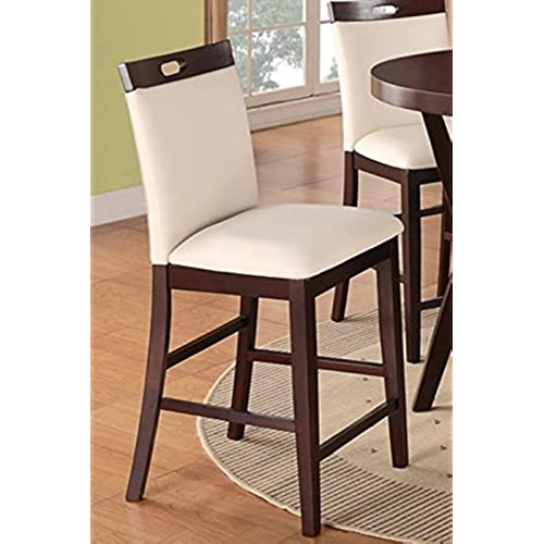 Charmant Poundex Modern Counter Height Dining Side Chair, Cream Faux Leather, Set Of  2