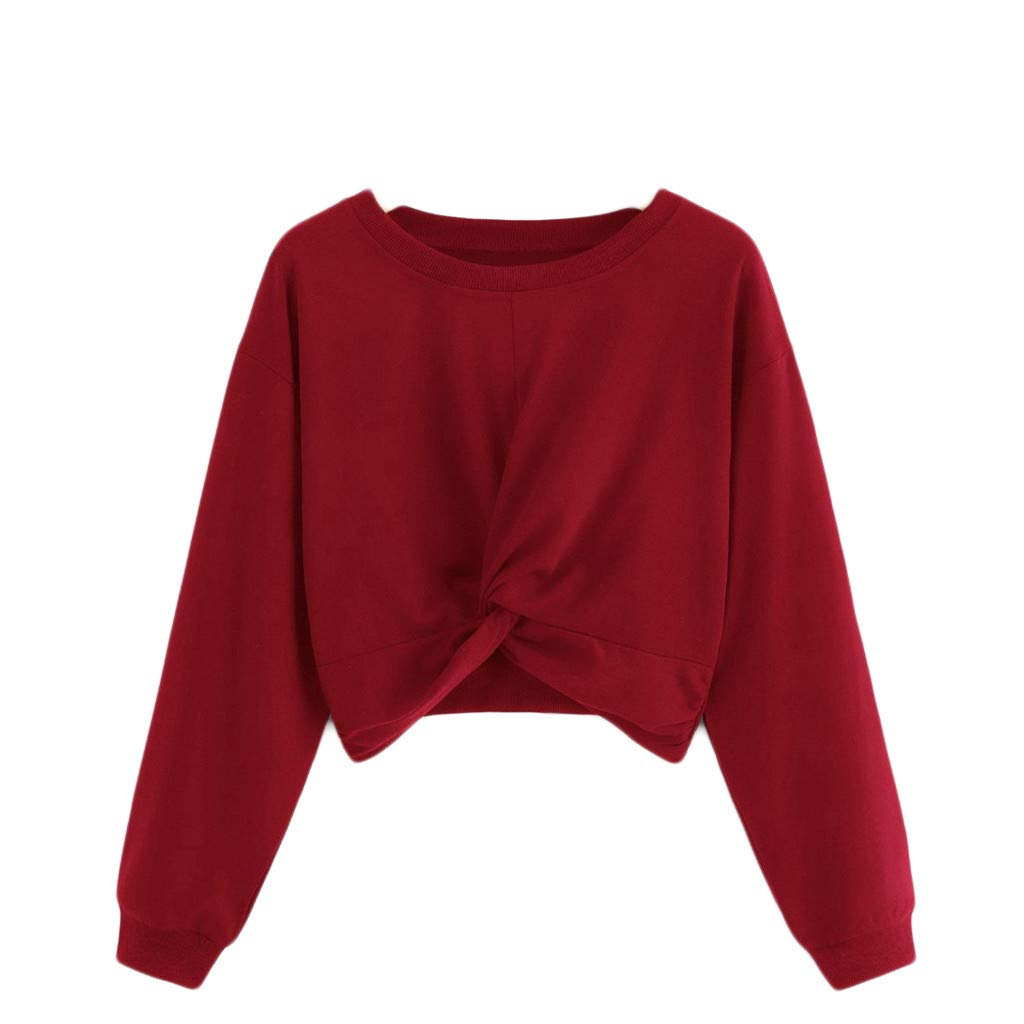 ❤️ Flame-mignons ❤️ Women Round Neck Solid Hatless Long Sleeves Tops and Sweater Red by ❤️ Flame-mignons ❤️