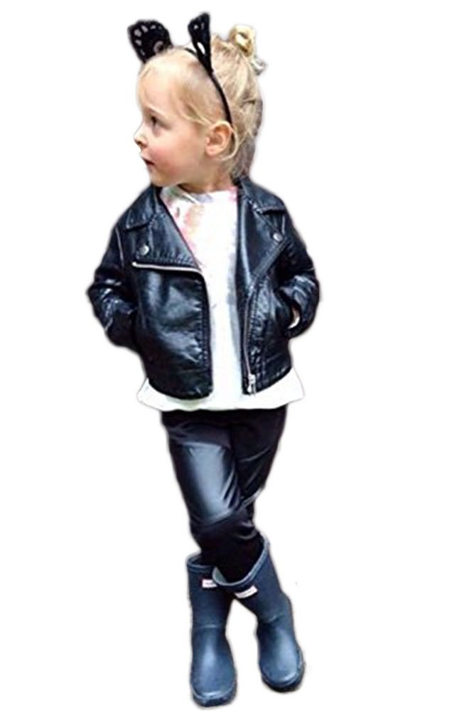 Baby Girls Fashion PU Leather Jacket Winter Coat Motorcycle Biker Outfit 1-2T Black