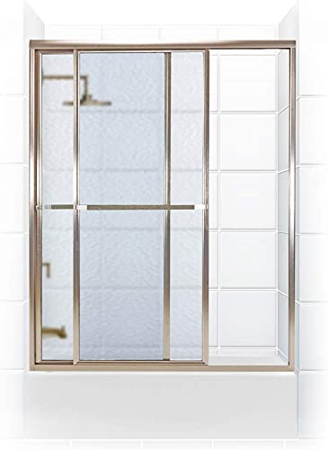 Coastal Shower Doors 1752.58N-A Paragon Series Framed Sliding Tub Door with Towel Bar in Obscure Glass, 52 x 58 , Brushed Nickel