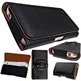 Kingsource (TM) Apple iPhone 5/5S/5C holster pouch-Black Horizontal Leather Holster Pouch Case with Magnetic Closure Belt Clip and Belt Loops fit Apple iPhone 5/5S/5C WITH OTTER BOX Defender/LIFEPROOF / Mophie Juice Pack Air/Spigen Armor/UAG case on (Apple iPhone 5/5s/5c)(NOTICE THE POUCH WILL WAY TOO BIG FOR A NAKED IPHONE 5/5S/5C)