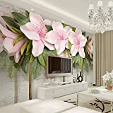 LHDLily 3D Wallpaper Mural Wall Sticker Thickening Stereo Relief Pink Flowers Leaves Brick Walls Bedroom Living Room Tv Sofa Backdrop Wall Paintings Home Decor 350cmX250cm