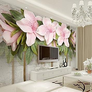 Amazon.com : 3D Wallpaper Stereo Sollievo Rosa Fiori Foglie ...