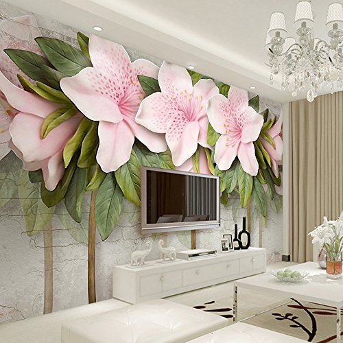 LHDLily 3D Wallpaper Mural Wall Sticker Thickening Stereo Relief Pink Flowers Leaves Brick Walls Bedroom Living