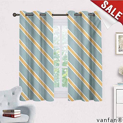 Big datastore Grommet Top Curtains/Drapery,Shabby Chic,Nostalgic Diagonal Bold and Thin Stripes Geometric Simplistic,Custom for Girls/Boysalmond Green Apricot Cream,W55 Xl72