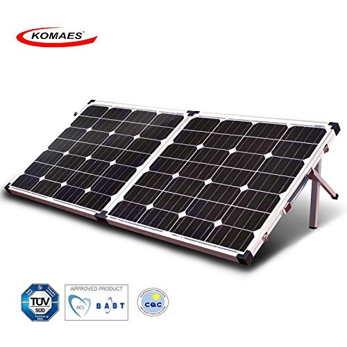 Industrial Solar Panel - KOMAES 120 Watt 12V/24V Monocrystalline Portable Folding Solar Panel Suitcase With Energy-efficient Technology Includes MPPT Controller, Padded Bag