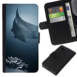 Supergiant (Ray Fish Coral Reef Tropical Diving Sea) Dibujo PU billetera de cuero Funda Case Caso de la piel de la bolsa protectora Para LG Nexus 5 D820 D821