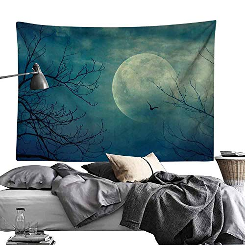 Smooth and Smooth Tapestry Horror House Decor Halloween with Full Moon in Sky and Dead Tree Branches Evil Haunted Forest Hippie Tapestry W70 x L59 Blue]()