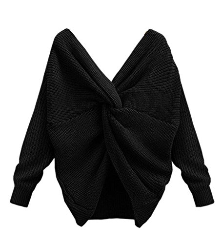 YOUJIA en Pullover Blouse Noir Jumper Dos Tricot Cross Top Femmes Sweater Wrap Col Nu Chandail V 4rq4fx