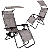 Super Decor Set of 2 Zero Gravity Outdoor Lounge Chairs w/Sunshade + Cup Holder with Mobile Device Slot Adjustable Folding Patio Reclining Chairs W/Canopy+ Snack Tray (Grey)