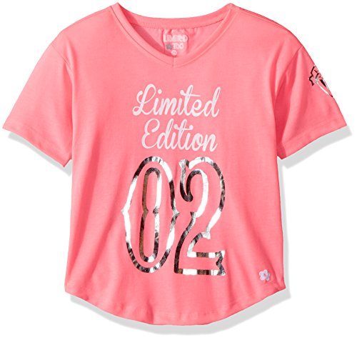 Limited Too Big Girls' Short Sleeve Fashion T-Shirt, Limited Edition Print Neon Light Pink, 7/8 ()