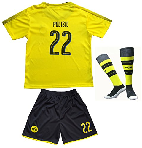 Kids Soccer Jersey - 2017/2018 Borrusia Dortmund BVB Home #22 Christian PULISIC Football Futbol Soccer Kids Jersey Shorts Socks Set Youth Sizes (8-9 YEARS OLD)