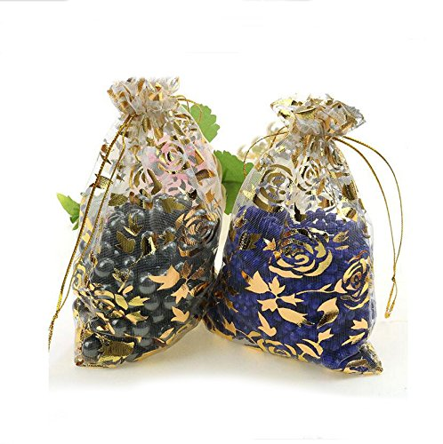 Tobway 100pcs New Hot Selling Printing Organza Drawstring Golden Rose Pouches Jewelry Party Wedding Favor Gift Bags (9cm12cm, (Hot Chocolate Party Favor)