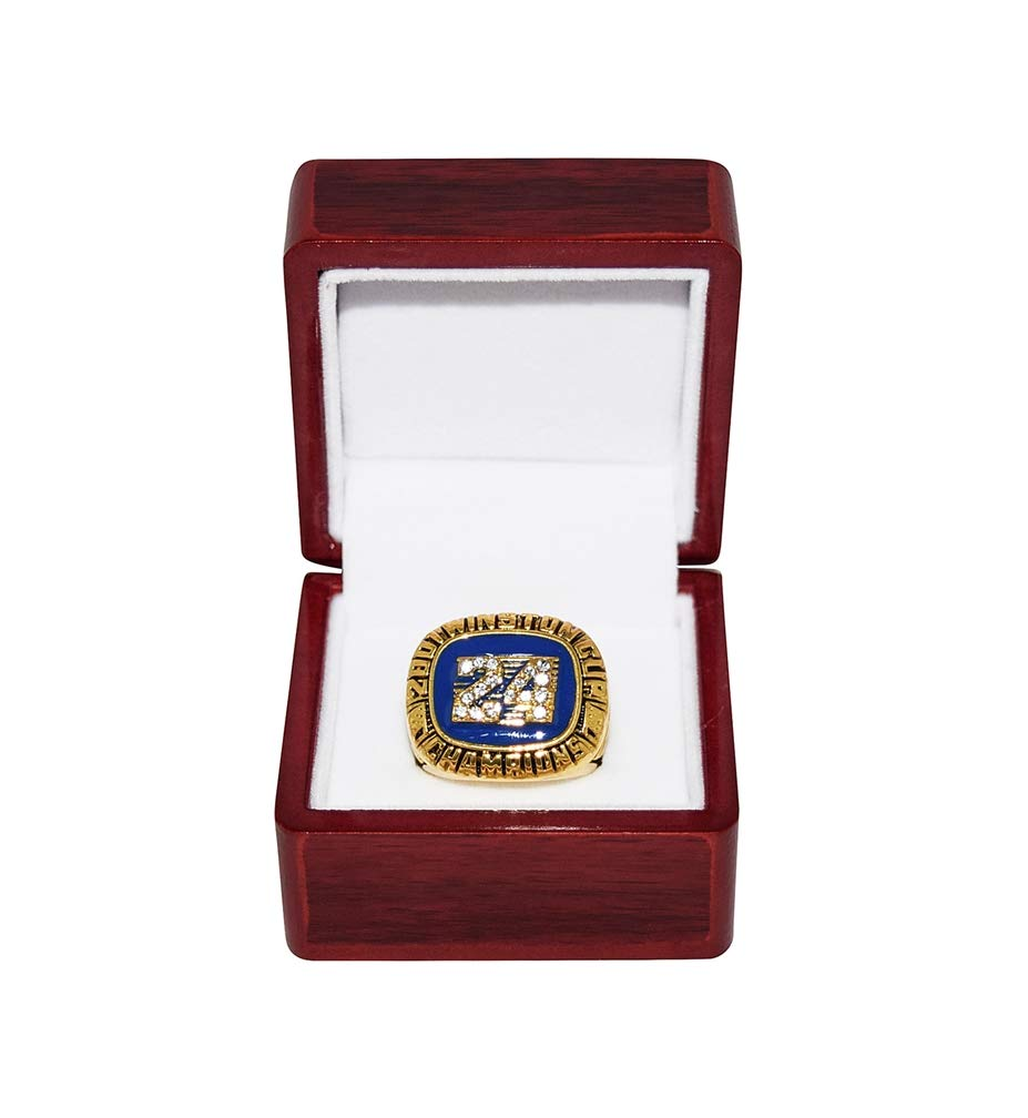 JEFF GORDON (Hendrick Motorsports) 2001 NASCAR WINSTON CUP CHAMPION (#24 DuPont Rainbow Team) Rare Collectible Replica Gold NASCAR Championship Ring with Cherrywood Display Box Trackside Autographs