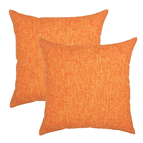 YOUR SMILE Solid Color Cotton Linen Decorative Throw Pillow Case Cushion Cover Pillowcase for Couch Sofa Bed,18 X 18 Inches (Orange,Set of 2) Bisque Living Room Set