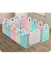 """Rxakudedo Foldable Baby playpen 14-Panel Kids Safety Activity Center Playard Adjustable Shape BPA-Free w/Non-Slip Foot Mats & Card Buckles, Safety Lock, HDPE Portable Folding for Home Indoor Outdoor, Infant & Toddler Fence 55.1""""L×55.1""""W×24.8""""H (Green & Pink & White)"""