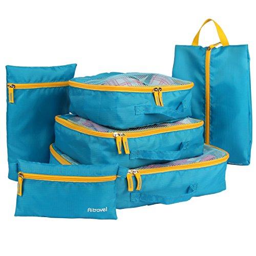 Aitravel , Organizer per valigie Blu Blue with yellow zips