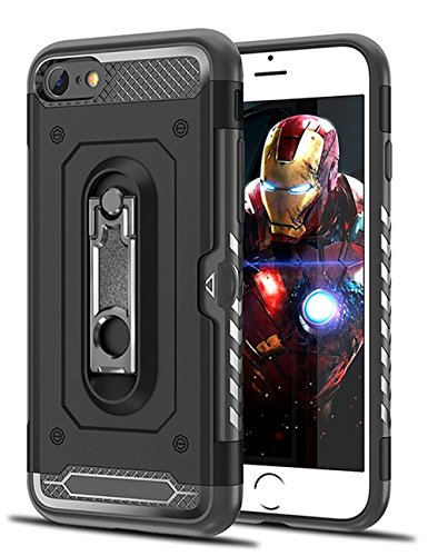 FESEEN iPhone 7 Case, Heavy Duty Protection Dual Layer Ultra hybrid Cover Case with Metal Kickstand and Storage Card Design for Apple iPhone 7 - Black