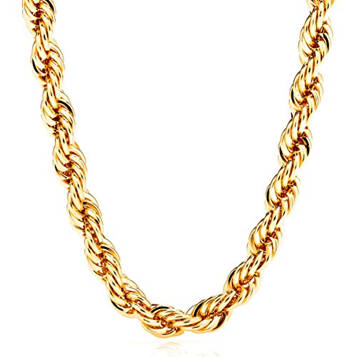 14k Braid Necklace (Lifetime Jewelry Rope Chain 7MM, 24K Diamond Cut Fashion Jewelry Necklaces in Yellow or White Gold Over Semi Precious Metals, Hip Hop or Classic, Comes with Box or Pouch, 20 Inches)