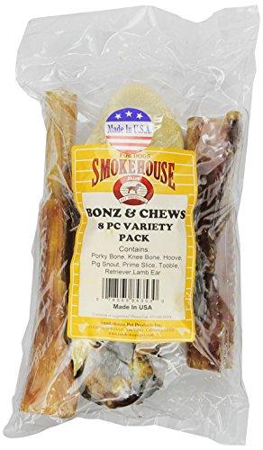 (Smokehouse 100-Percent Natural Bonz And Chewz Dog Treats, 8-Count Variety-Pack)