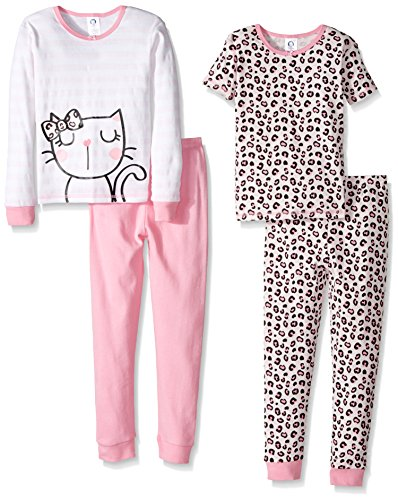 Gerber Baby 4 Piece Cotton Pajama Set, kitty, 12 Months