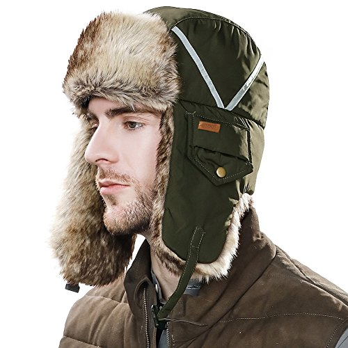 SIGGI Faux Fur Trapper Hat Aviator Earflap Hat Winter Pilot Soviet Russian Ushanka Hat Windproof Mask Men Ladies