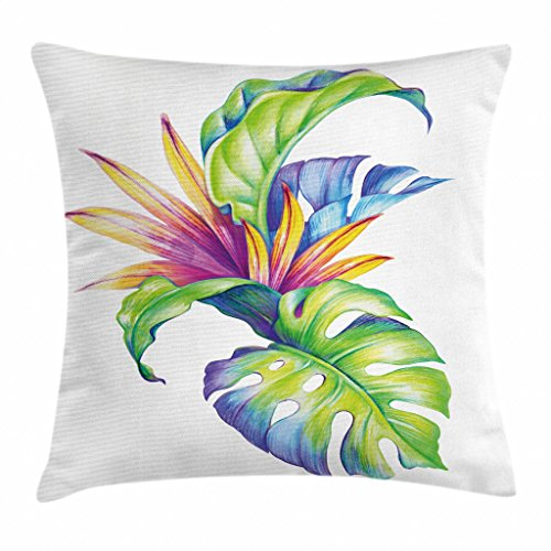 Ambesonne Plant Throw Pillow Cushion Cover, Tropical Leaves and Monstera with Abstract Color Scheme Hawaiian Floral Elements, Decorative Square Accent Pillow Case, 16