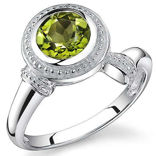 1.50 Carats Round Cut Peridot Ring in Sterling Silver Rhodium Nickel Finish Sizes 5 to 9