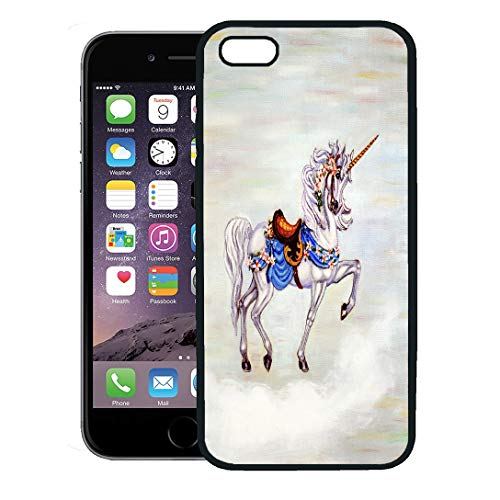Semtomn Phone Case for iPhone 8 Plus case,Colorful Oil Original Painting of Unicorn on Cloud Carousel Horse Canvass iPhone 7 Plus case - Prancing Carousel