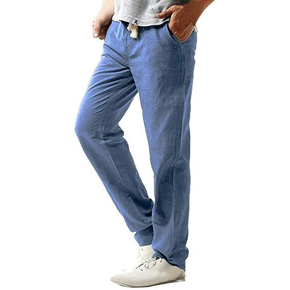 ♚ Pantalones de Lino Ocasionales de los Hombres,LIM Strand Hosen Linen Hose Pant Pantalones sólidos Absolute: Amazon.es: Ropa y accesorios