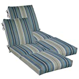 """outdoor chaise lounge cushions Set of 2 Outdoor Channeled Chaise Cushion 23W x 72L x 4.5H Hinge at 26"""" in Polyester Fabric Stripe Blue by Comfort Classics Inc."""