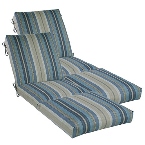 """Set of 2 Outdoor Channeled Chaise Cushion 23W x 72L x 4.5H Hinge at 26"""" in Polyester Fabric Stripe Blue by Comfort Classics Inc."""