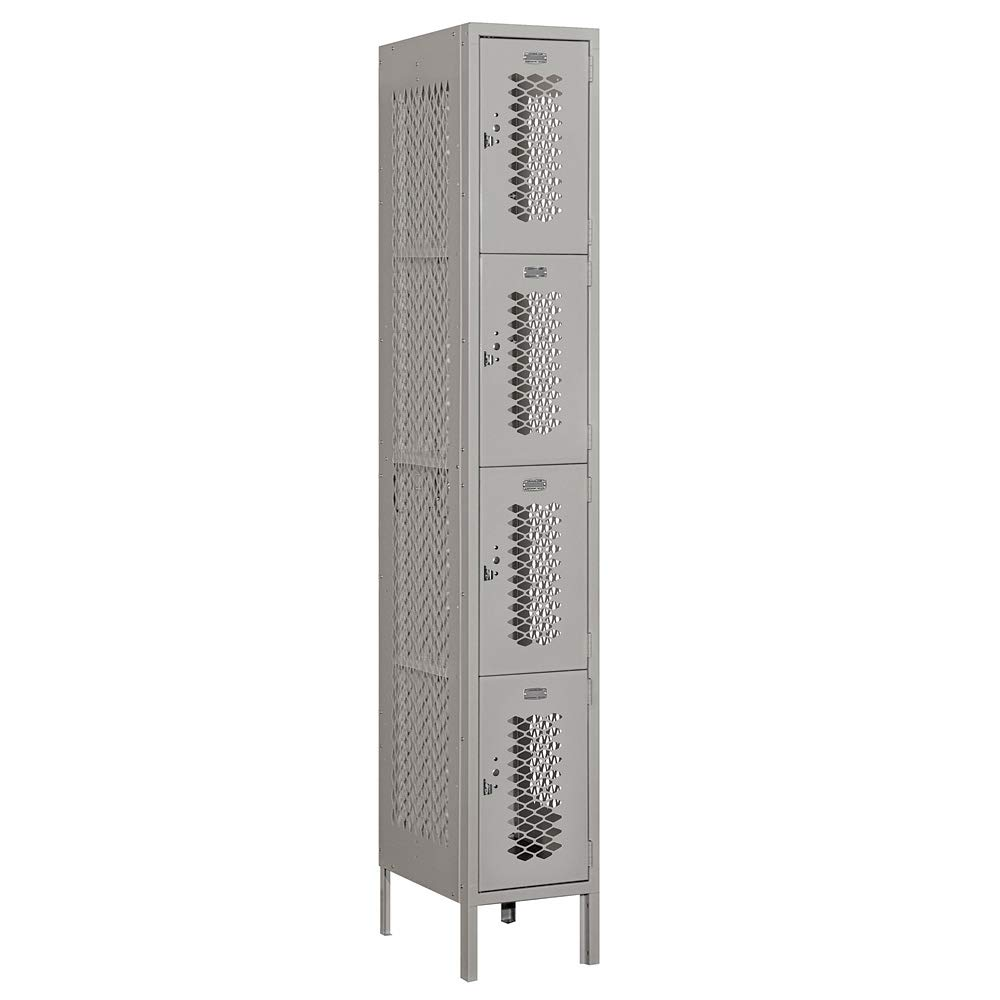Salsbury Industries 74168GY-A 12'' Four Tier Vented, 1 Wide x 6 Feet High x 18 Inches Deep, Assembled Metal Locker Gray