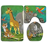 Hexu Cartoon Safari Illustration For The Children Bathroom Rug 3 Piece Bath Mat Set Contour Rug And Lid Cover