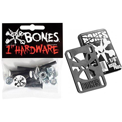 """Bones Skateboard Hardware Riser Pad Kit - 1"""" Phillips Black/White + 1/8"""" Risers"""