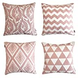 ALPHA HOME Embroidered Throw Pillow Covers Decorative Cushion Covers 18 x 18 inch, Set of 4, Pink