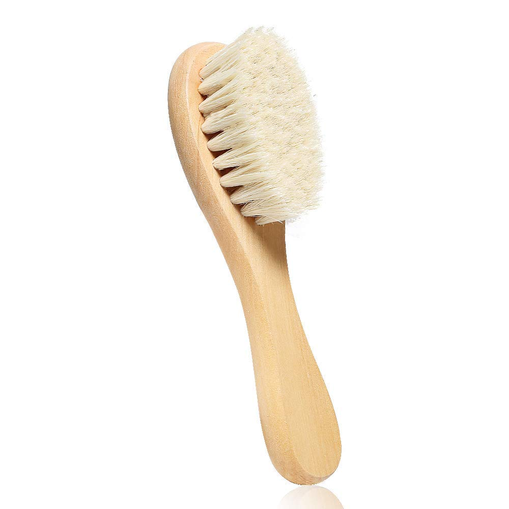 3PCS Gikia Baby Hair Brush with Wooden Handle and Super Soft Goat Bristles