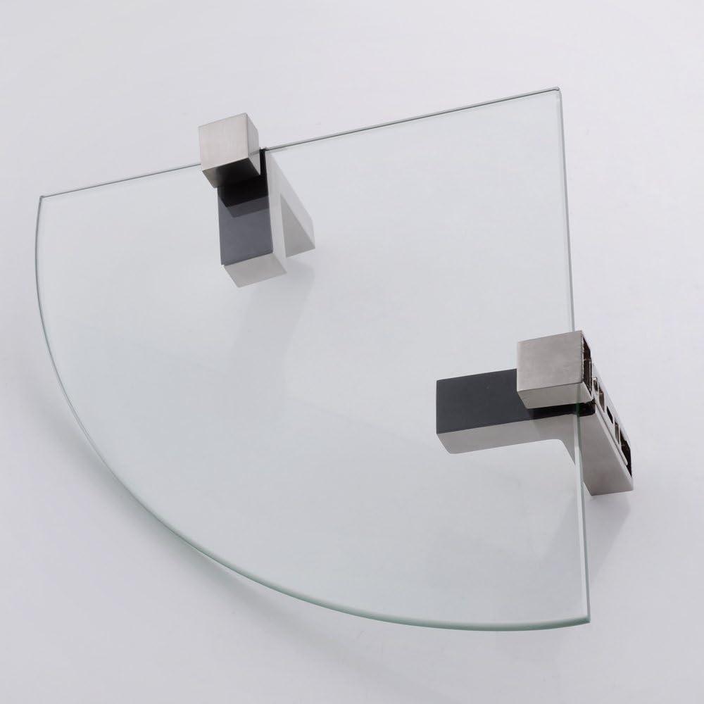 BGS3101 KES Mensola angolare da bagno con fondo in vetro e asta vetro temperato 25 x 25 CM cromato