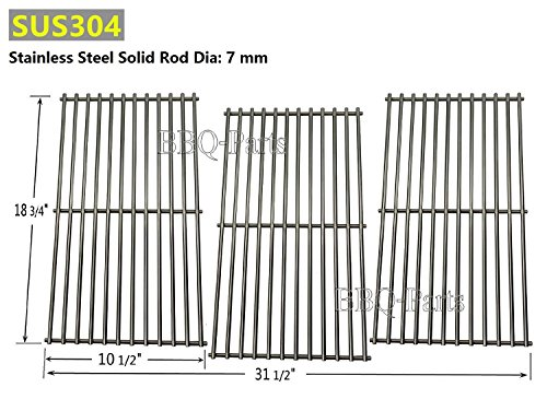 Hongso SCD453 BBQ Barbecue Replacement Stainless Steel Cooking Grill Grid Grate for Master Centro, Charbroil, Sam's Club, Members Mark, Jenn-Air, and Other Model Grills, Set of 3 by Hongso