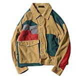 KovfLee Color Block Patchwork Corduroy Jackets Mens Hip Hop Casual Long Sleeve Pockets Outwear Coats Male Fashion Streetwear Pic L
